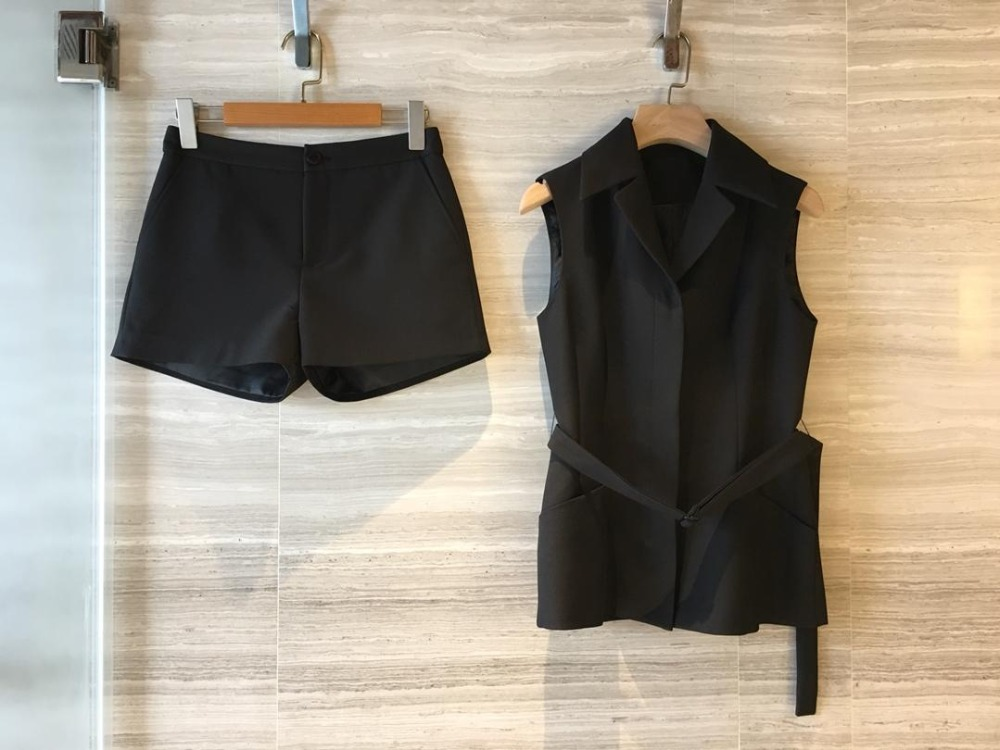 2019 Summer Women s Fashion Set Black Sleeveless Vest Shorts 2 Piece Set 0325