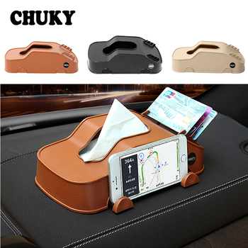 CHUKY Multifunction Car Model Tissue Box Phone Holder Cards Clip Storage Box For BMW E36 F30 F10 E30 M X5 Ssangyong Volvo XC90 image