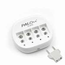 PALO 4 Slots 9 v 6f22 Rechargeable Battery Charger Mini Dual Toy Battery Charger for 6F22 9V Lithium li-ion Li-ion Battery