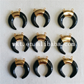 WT-P713 Latest black agate pendants design unique double loops black crescent agate pendants horn pendant gold plated pendants