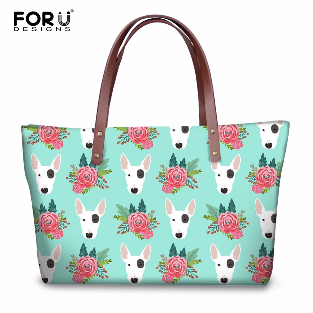 FORUDESIGNS Cute Women Handbags Animal Bull Terrier Print Women's Tote Shoulder Bags Luxury Female Handbag Woman Crossbody Bags бензопила stihl ms 180 c be 16 picco