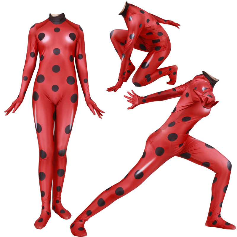 Anime Queen Bee Ladybug Cat Noir Adrien Fox Cosplay Costume Lady Bug Zentai Bodysuits Suit Jumpsuit Super Heros Women Men Kids