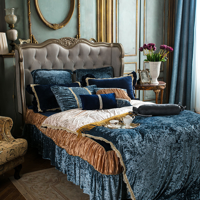 4 7pcs Fleece warm bedding set Luxury queen king size bed set duvet cover bed sheet