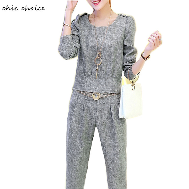 Fashion Women Winter Fall Suits Long Sleeve Tops and Pencil Pants with Metal Belt Necklace Two Piece Suits Set Female