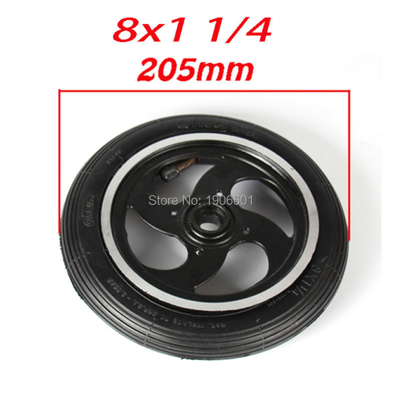 8 Pneumatic Wheel With Inner Tube For Kickscooter Scooter Wheel Size 8x1 1//4 Aluminium Alloy Hub 32mm Width Wheel With Bearings