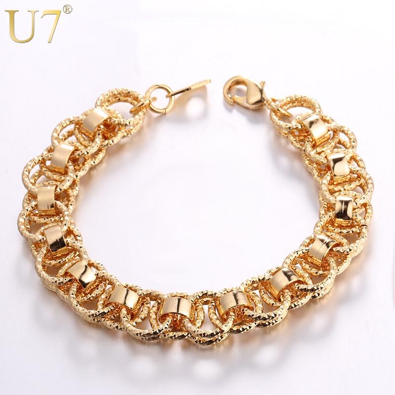 U7 Tangan Rantai Gelang Trendy Emas / Perak / Warna Hitam 21 cm Unik Putaran Gelang Bangles Wanita / Pria Perhiasan Hot Sale H489