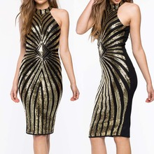 women Diamond Luxe Sequined Dress Sexy Sleeveless Mesh Patchwork Pencil Midi Dress Sexy Club Night Bandage Bodycon Dress 4478