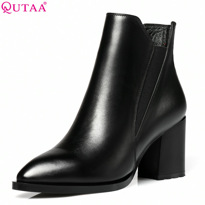 цены QUTAA 2018 Women Ankle Boots Square High Heel Genuine Leather Platform Zipper Pointed Toe Women Motorcycle Boots Size 34-42