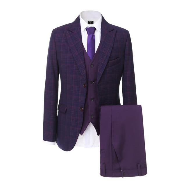 Blazer Pants Vest Clic Men S Suit Tailor Made Purple Wedding Suits