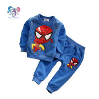 2015 Baby Boy Brand Fashion Outfits Spiderman Clothing Sets Cotton Toddler Boys Tracksuit Kids Sport Suit