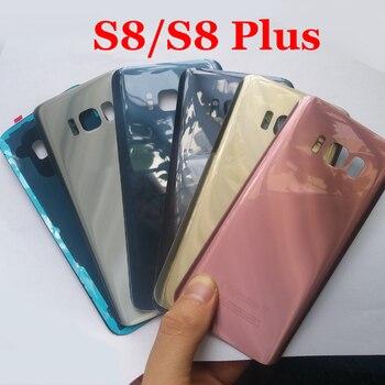 Para SAMSUNG Galaxy S8 S8 Plus G950 G950F G950 G955F cubierta trasera de la batería de cristal cubierta de la puerta trasera carcasa de la Cámara adhesiva de cristal