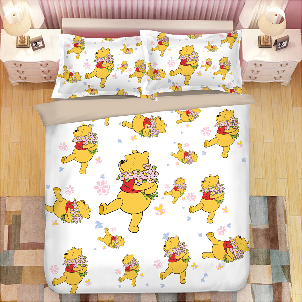 Winnie the Pooh bedding set twin size quilt duvet covers for kids bedroom decora boys double bed single queen coverlets 3 pcsWinnie the Pooh bedding set twin size quilt duvet covers for kids bedroom decora boys double bed single queen coverlets 3 pcs