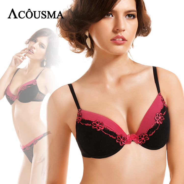 ACOUSMA Women Sexy   Bra     Sets   Embroidery Floral Female Brassiere Lingerie   Set   With Seamless T Back Thongs