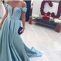 Саудовская Аравия Мусульманский Роскошь В Моде С Плеча Глубокий V Шеи длинные Пром Платье Вечернее Платье Матовая Атласная Леди Summer Party Платья