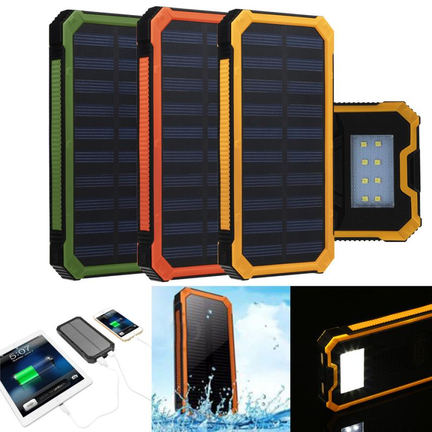 2016 Fashion Phone Accessories Waterproof 20000mAh Portable Solar Charger Dual USB Battery Power Bank F Phone