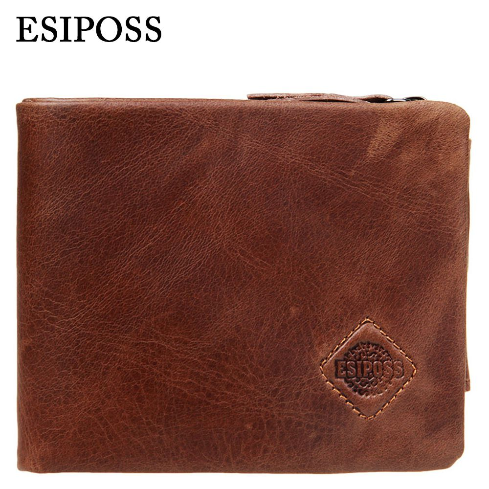 100% Genuine Cowhide Leather Men Wallets 2016 Vintage High Quality Brand Designer Male Thin Short Card Holder Small Casual Purse