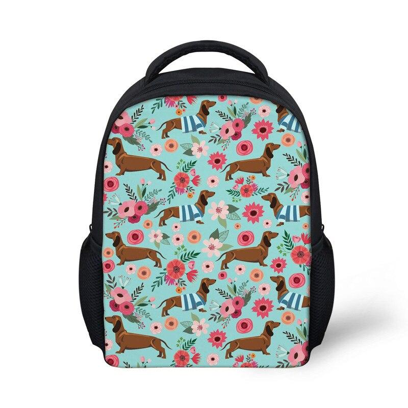 Kids Doxie Dog Printing School Bags Backpack Girls Cute Schoolbag for Children Small Kindergarten Bookbag Satchel