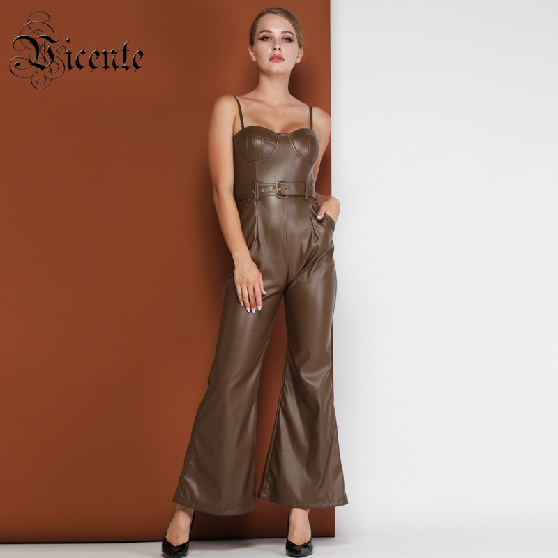 Vicente HOT Stylish PU Jumpsuit Sexy Sleeveless Backless Boot Cut Sashes Design Wholesale Celebrity Party Club