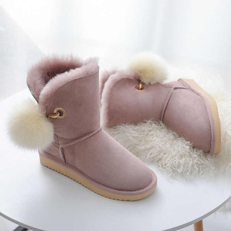 cf91d1dd5 MIYAGINA/Высокое качество Австралия классическая женская обувь Зимние  непромокаемые из натуральной овечьей кожи натуральный мех