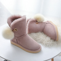 MIYAGINA High Quality Australia Classic Lady Shoes Winter Waterproof Genuine Sheepskin Leather Real Fur Women Snow Boots