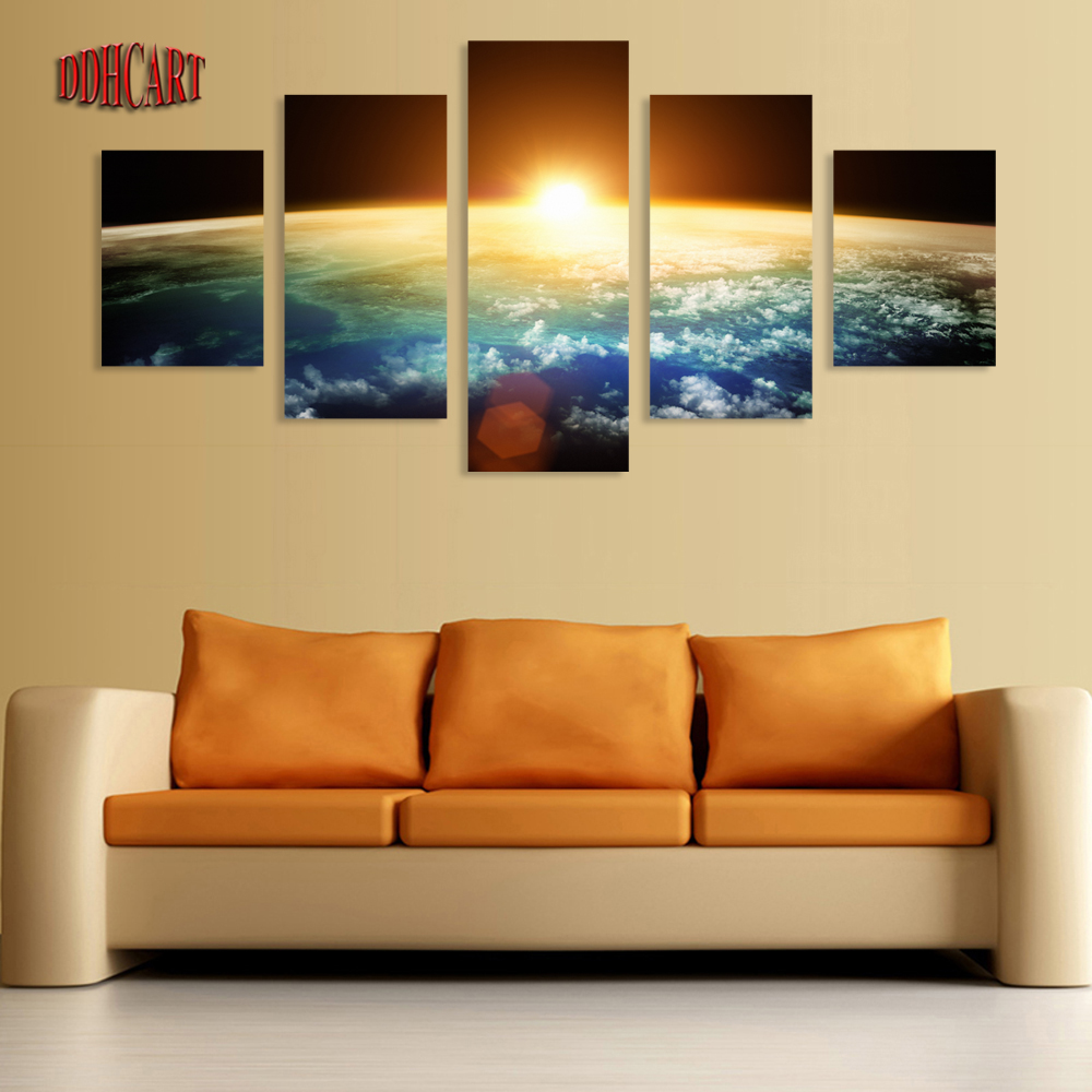 5 piece hot sell sunrise modern home wall decor canvas for Modern home decor wall art