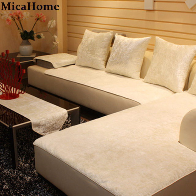 European Leather Sofa Cushion Plush Sofa Cloth Fabric Sectional Towel Set Sofa  Covers For Home Textile