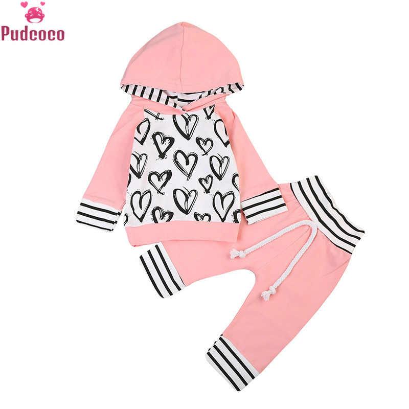 幼児子供 2019 秋冬のハート柄スエットシャツトップス + パンツレギンス 2 本の衣類のセット 0-3Y