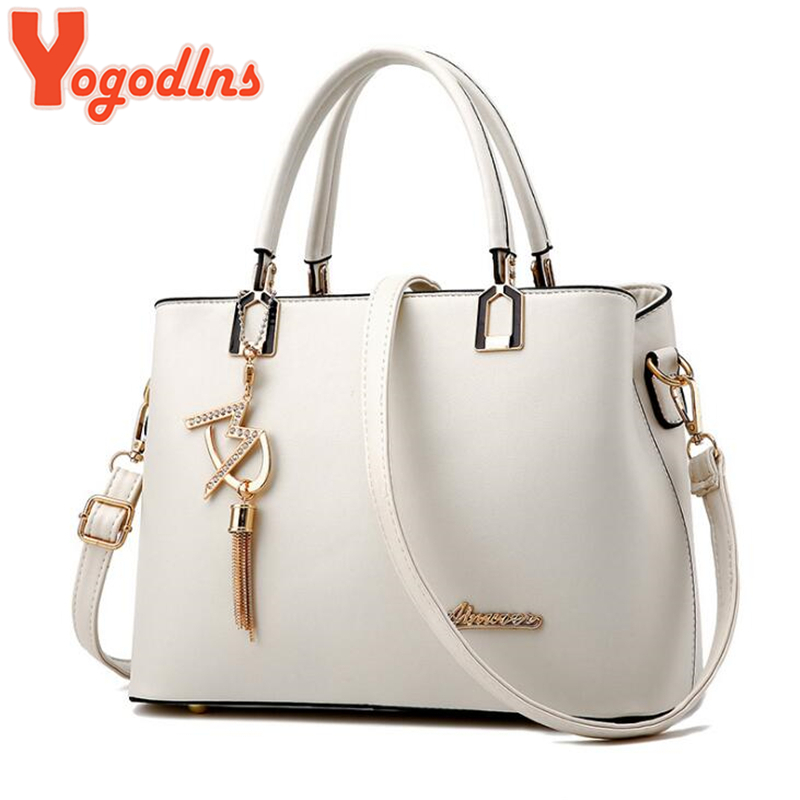 Yogodlns Classic Pure Color Women PU Leather Tote Tassel Bags Female Top-handle Handbag Fashion Crossbody Shoulder Bag For Lady