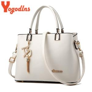Image 1 - Yogodlns Klassische Reine Farbe Frauen PU Leder Tote Quaste Taschen Weibliche Top griff Handtasche Mode Umhängetasche umhängetasche für dame