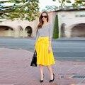 Amarelo Saia Com Arco Uma Linha Comprimento Do Joelho Simples Saias Elegantes