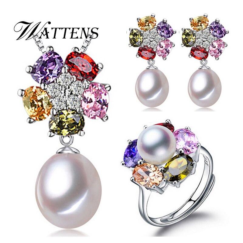 Ensembles de bijoux, Naturel d'eau douce perle bijoux cadeaux accessoires pour femmes, perle pendentif en argent collier boucles d'oreilles anneau ensembles