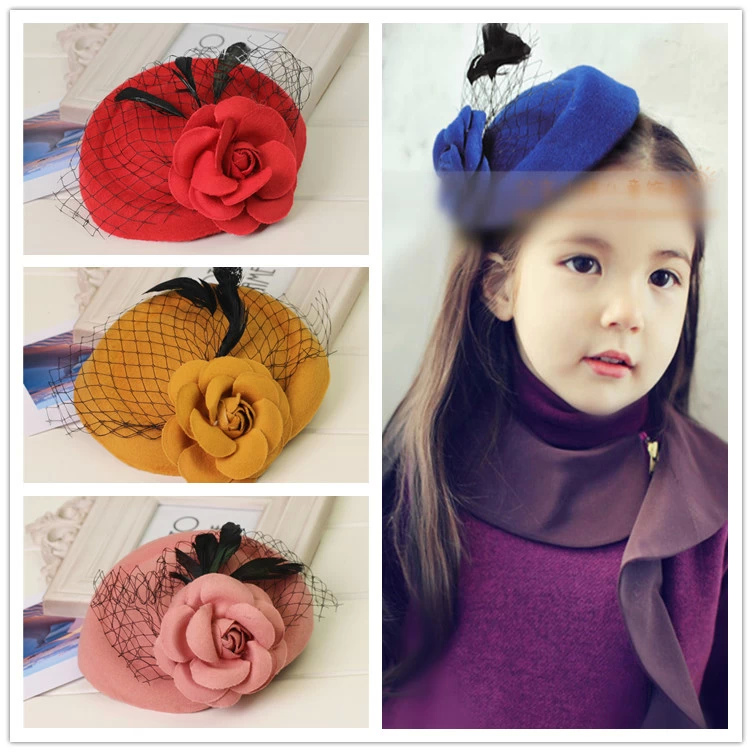 Mini Hat Lace Flower Baby Girl Hair Clip Barrette Style Accessories For