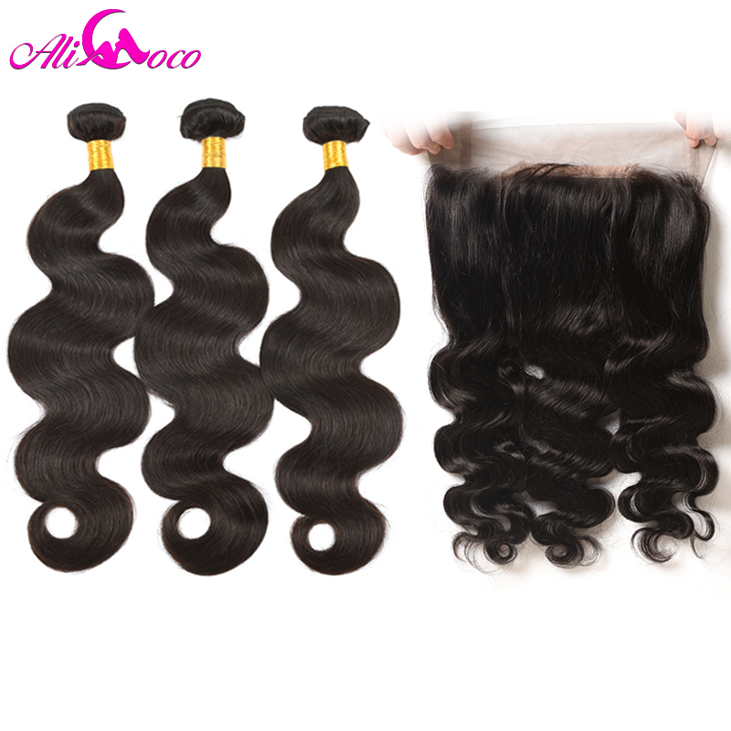 Ali Coco Body Wave Lace Frontal With 3 Bundles With Frontal Brazilian Hair With Frontal Human