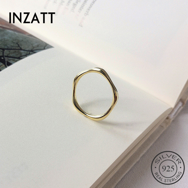 INZATT Real 925% Sterling Silver Geometric Polygon Ring For Fashion Women Party Minimalist Fine Jewelry Accessories Gift 2019