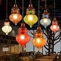 Bohemian Mediterrane Kleurrijke Glazen Plafond Drop Pendant Lamp Verlichting Armatuur voor Cafe Bar Restaurant Cafe Decor
