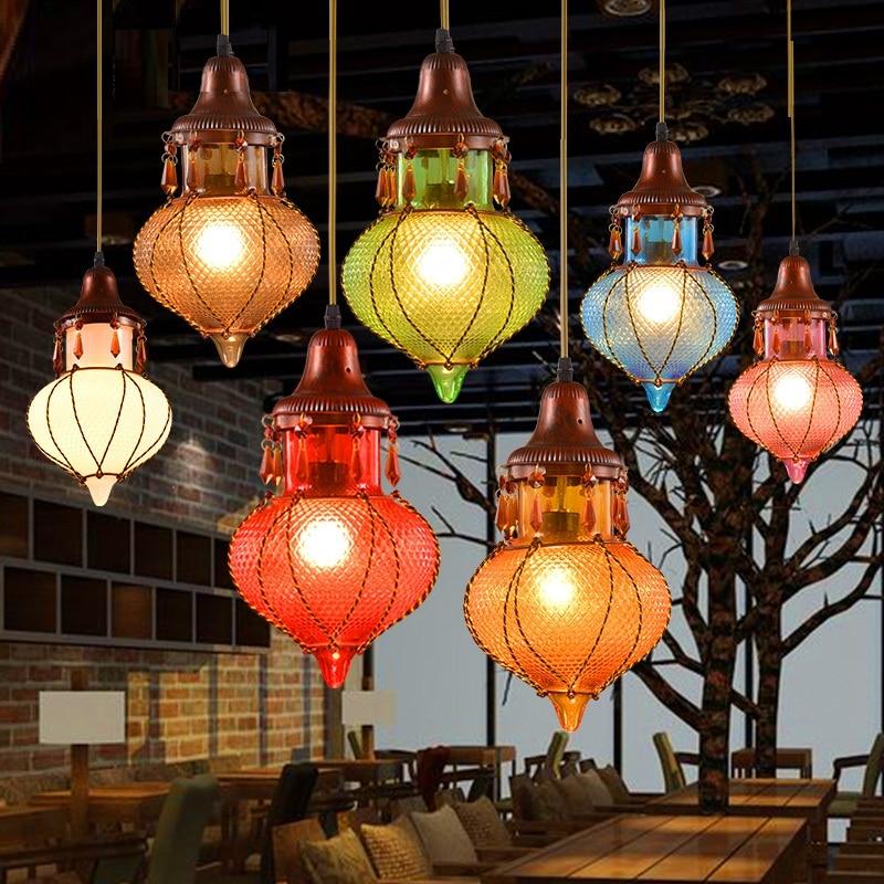 Bohemian Mediterranean Colorful Glass Ceiling Drop Light Pendant Lamp Lighting Fixture for Cafe Bar Restaurant Cafe Decor
