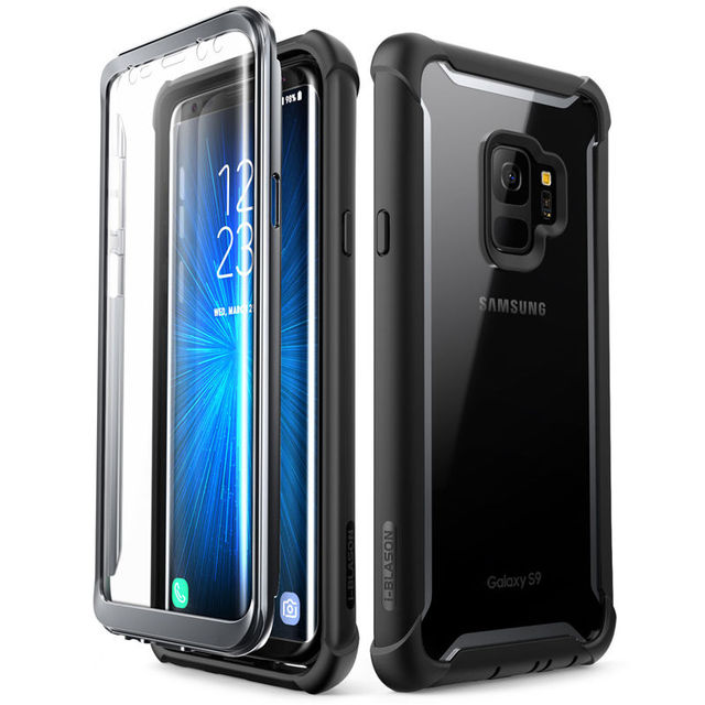 For Samsung Galaxy S9 Case 2018 Original i Blason Ares Series Full Body Rugged Clear Bumper Case with Built in Screen Protector