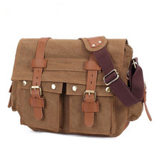 Men Canvas Leather Crossbody Bag Men Military Army Vintage Messenger Bags Large Shoulder Bag Casual Travel Bags