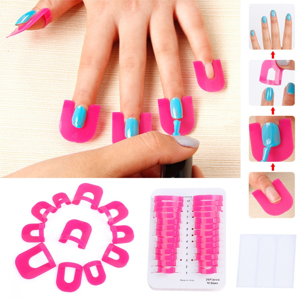 Nail Polish Tips: 2 X 26Pcs/Pack Nail Protector Nail Polish Tips Form Pro Uv