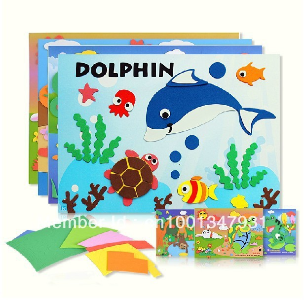 5pcs Animal Bear Big Size Kids EVA handmade DIY Children Sticker 3D Puzzles Toys art Painting Gift