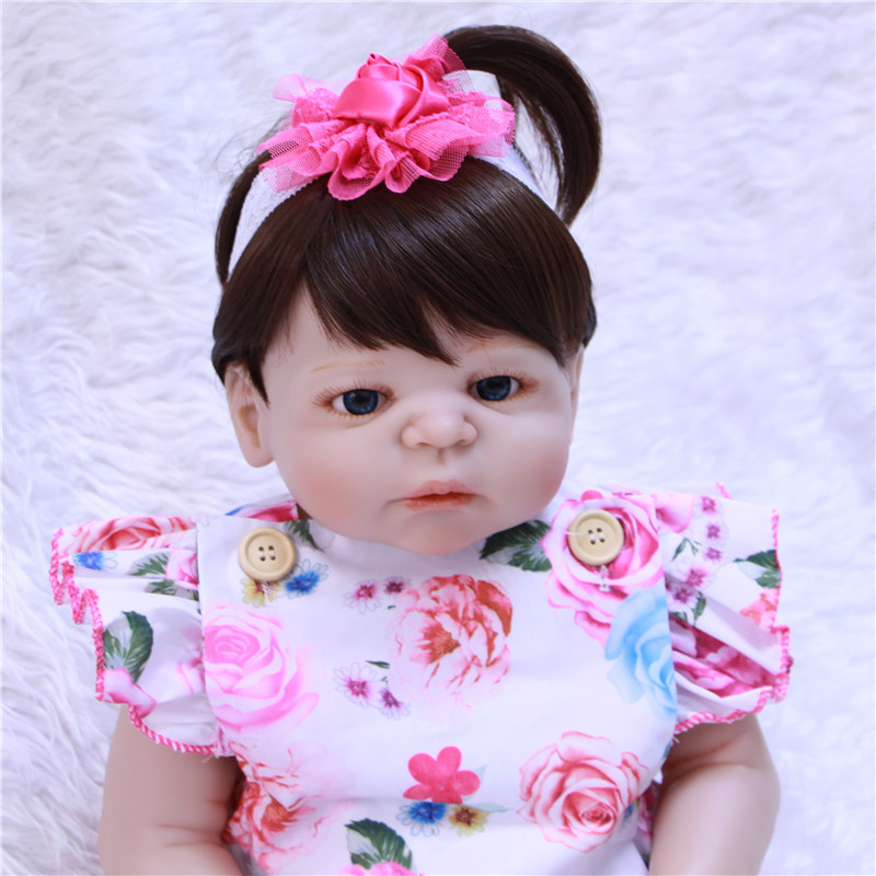 22 Inch real dolls Reborn Full silicone Vinyl Babies For Girls Hair Wig bebe Alive reborn