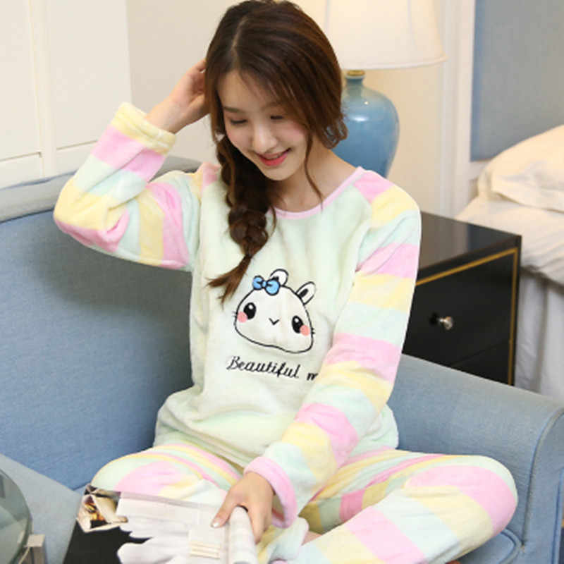 Winter Pyjamas Thick Flannel Warm Women Pajama Set Cute Cartoon Cat Long  Sleeve Full Trousers Two 7d4c4d889