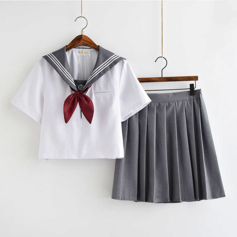 Summer Japanese School Uniforms For Girls Cute Short/Long-length Sailor Tops Pleated Skirt Full Sets Cosplay Sailor Costume