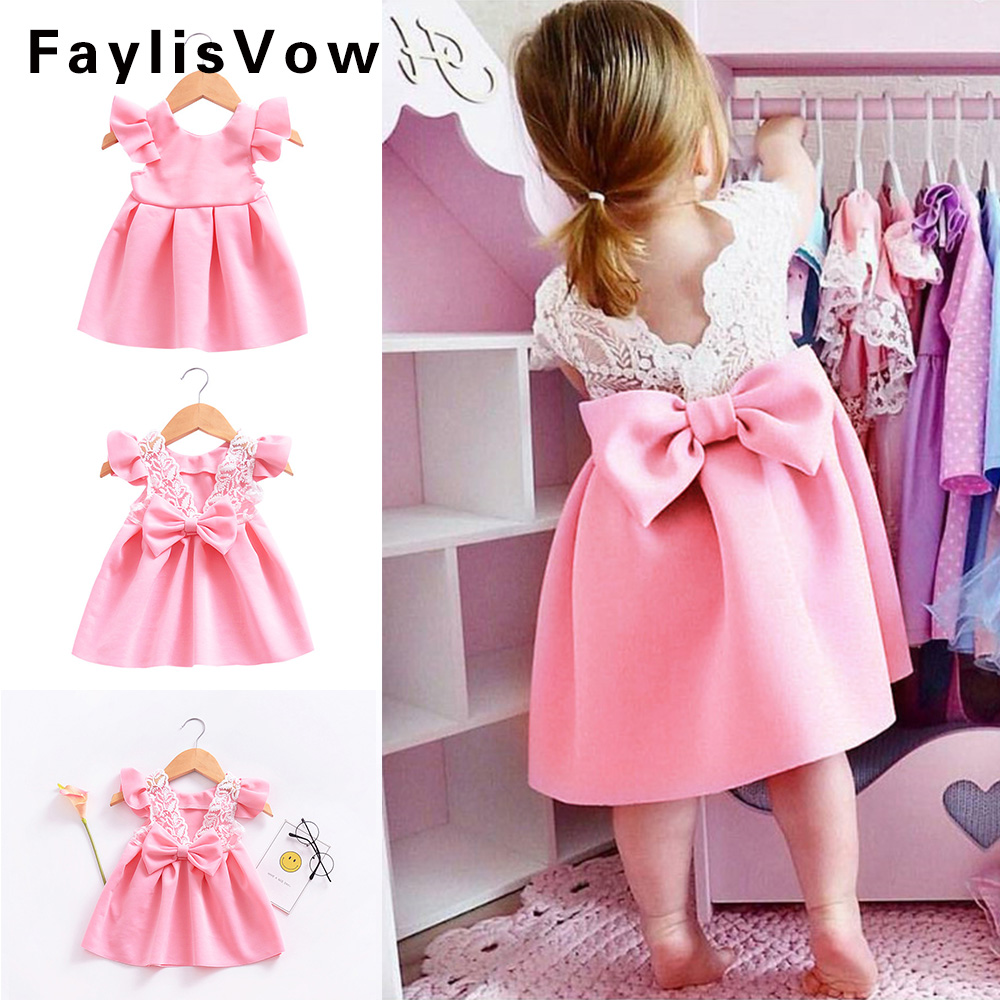 Lace Backless Princess Dress Birthday Vestido Summer Toddler Girl Party Wedding birthday Dress Bow Ruffled Backless Sundress цены