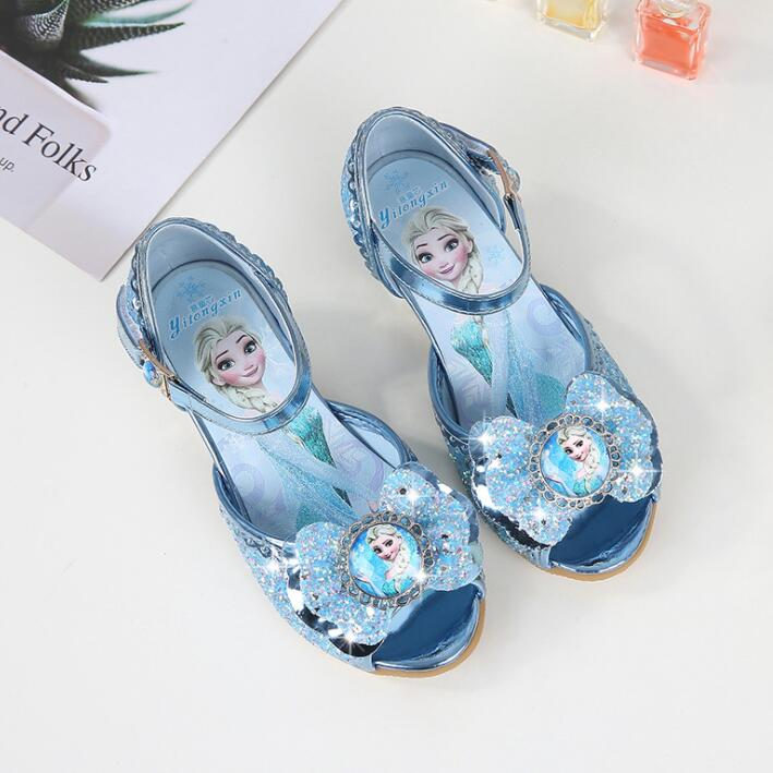 Girls Sandals Kids Princess Shoes High Heel Sandals Peep-toe Cartoon Elsa Princess Children Shoes For Girls Party Sandalias girls pearl beading rhinestone sandals princess square heel pointed toe dress shoes children wedding party formal shoes aa51329
