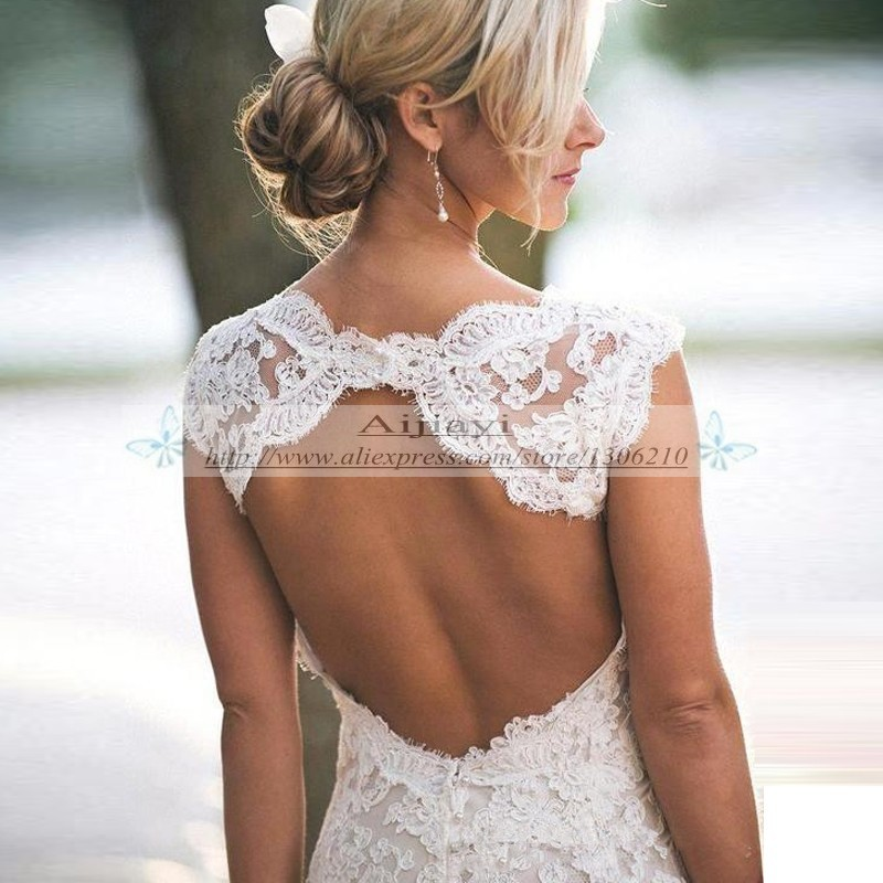 Pretty Floral Lace Rustic Wedding Dresses 2017 V Neck Cap Sleeves Country  Style Backless Vestido de Novia 2017 Robe de Mariage -in Wedding Dresses  from ... afcac7e37b19