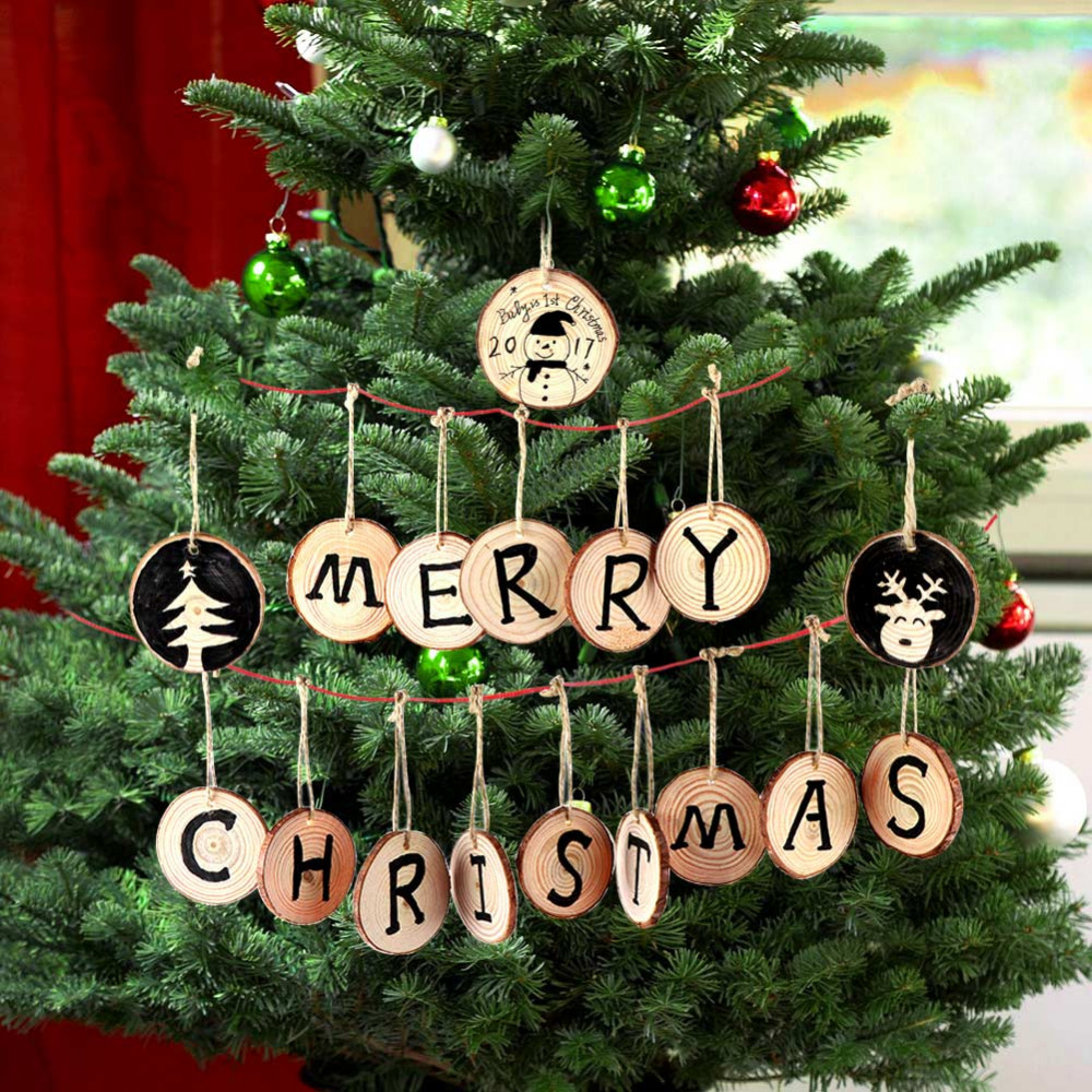 100pcs Natural Wooden Slices Diy Art Craft For Christmas Tree