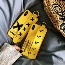 Fashion Pattern Wrist Strap Case for Apple iPhone 8 7 6 6S Plus Soft Silicone Acrylic Yellow Letter Cover