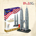 Cubicfun 3D Puzzle Toys 88PCS Malaysia Double Star Tower Model MC084h Children's Gift