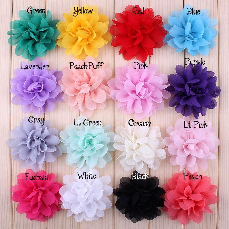 22pcs 7CM Fashion Satin Chiffon Flowers For DIY Hair Accessories Fabric Flower Bouquet Wedding Decoration Head Wrap For Headband